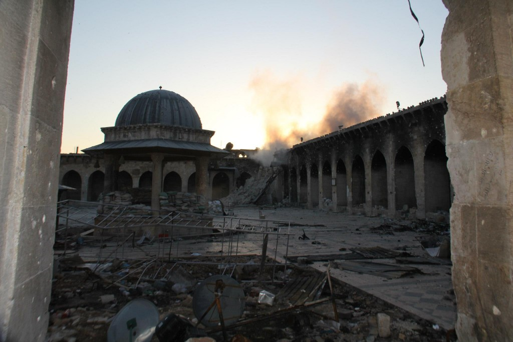The remains of the minaret of the Umayyad Mosque, Aleppo. April 2013. Copyright: Lens of a Young Halabi