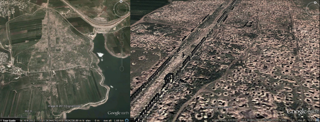 Looting at Apamea, DigitalGlobe image from Google Earth - 04 April 2012. Left: Extent of the looting Right - close-up view along the colonnade