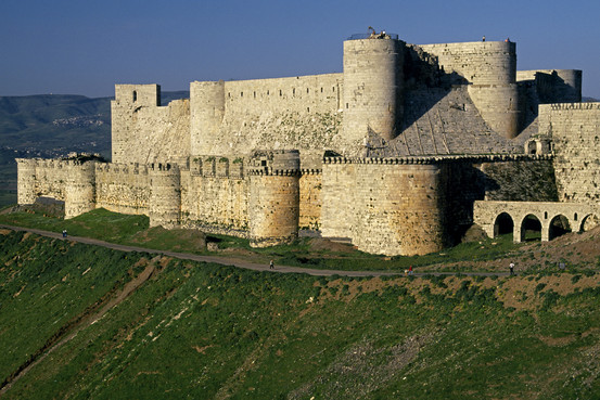 The Crac des Chevaliers, a Crusader fortress of the 12th to 13th centuries, which overlooks the plains of Homs Getty Images