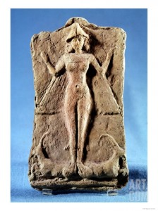 Plaque of a Winged Goddess, Possibly Ishtar, Standing on Two Ibexes, from Ras Shamra (Ugarit)